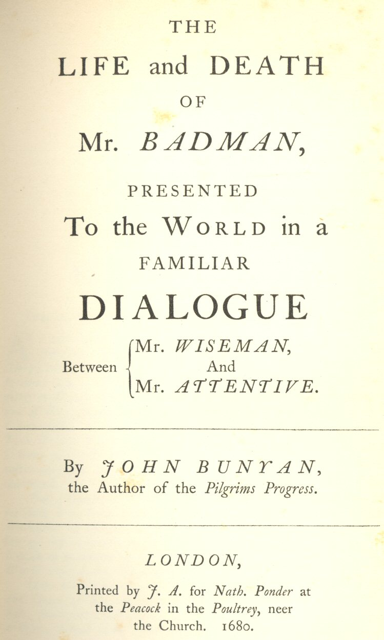 Facsimile of title page of first (1680) edition of The Life and Death of Mr. Badman