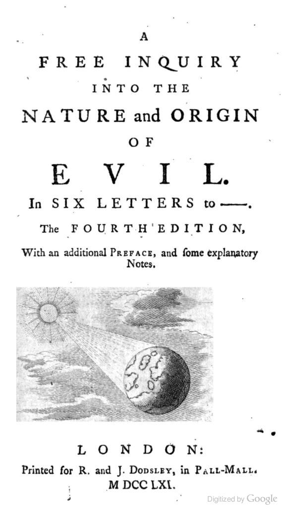 A Free Inquiry into the Nature and Origin of Evil.
